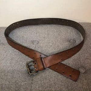 AEO Brown Leather Double Buckle Belt